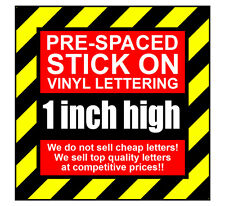 11 Characters 1 inch (25mm) high pre-spaced stick on vinyl letters & numbers