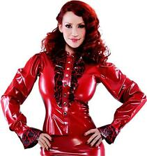 Bordelle-L'Amour Siren Latex Shirt Pearl Sheen Red with Pearl Sheen Red Trim