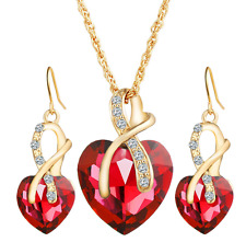 18K Gold Plated Austrian Crystal Heart Shape Necklace Earrings Jewelry Set Women