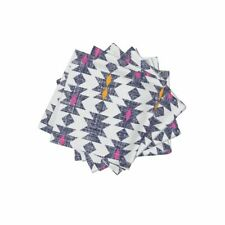 Cocktail Napkins Tribal Holli Zollinger Pink Yellow Set of 4