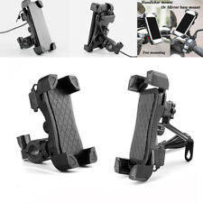Universal Motorcycle Mobile Phone Holder Motorbike Grip Clamp Mount w/USB Charge