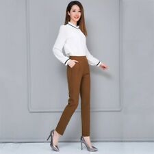 Women Ladies High Waist Baggy Casual Cotton Pencil Cropped Pants OL Trousers New