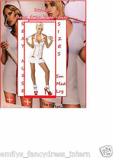 LADIES SEXY WHITE / RED NURSE FANCY DRESS PARTY COSTUME SIZE 8 10 12 14 16 18