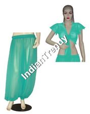 Turquoise Harem Pant Ruffle Top Choli Belly Dance Club