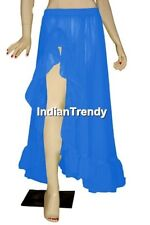 DBlue Ruffle Slit Skirt Belly Dance Costume Boho Gypsy