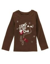 GYMBOREE ALPINE SWEETIE SKI CLUB BROWN TEE 4 5 6 7 10 N