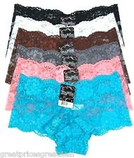 Lot of 6 SEXY Lace BoyShorts HIPSTERS Underwear #7147 S M L XL