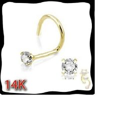 14K Yellow Gold 20g Nose Ring Stud Screw Clear CZ
