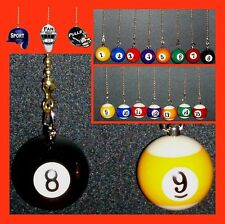 POOL/BILLIARDS BALLS CEILING FAN AND LIGHT PULLS - (CHOICE OF 1 OR 2 POOL BALLS)