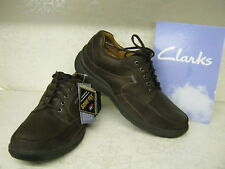 Clarks Stream Jet GTX Brown Leather Lace Up Shoes