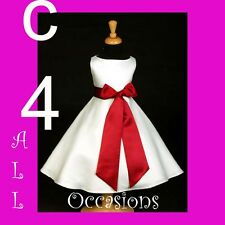 FLOWER GIRL DRESS-IVORY/ APPLE RED 18M 2 4 6 8 10 12 14
