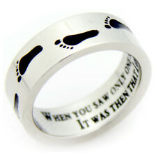 Christmas Gift Ring: Footprints Stainless Steel Ring Size 6-9