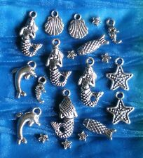 Tibetan Silver MERMAID Charm Sets + Seahorse Dolphin Sea Shell - USA Seller!!