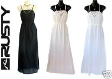 RUSTY Heart Maxi Long Gypsy Surf Ladies Dress Black White Pink NEW RRP$100