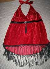 NWT LANE BRYANT RED VELVET HALTER TOP W/ FRINGE WOMEN'S PLUS SZ 18 OR 20