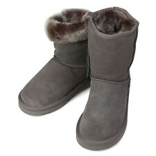 Womens GK Winter Lining Snow Warm Grey Leather Boots