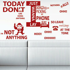 Wall Quote Wall Sticker Wall Decal Bruno Mars Lazy Song LYRICS