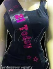 Black & Pink  Happy Birthday Sash 18th 21st 30th 40th 50th