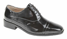 Mens Shoes Dress Black Dance Uniform Evening Smart Laced  Black Patent New Box