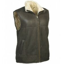 MENS GILET GENUINE NAPPA LEATHER & REAL SHEEPSKIN