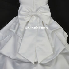 WHITE SATIN TIE BOW SASH FOR WEDDING FLOWER GIRL DRESS sz S M L 2 4 6 8 10 12 14