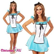 New Alice in Wonderland Costume Fancy Dress Halloween Hens Party Full Outfit