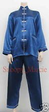 New 19mm Charmeuse Silk Ladies Women Chinese Pyjamas DK Blue S-M-L-XL-XXL AU0490