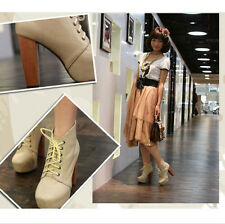 Fashion Womens High Heels Lace-up Cool Europe Platform Ankle Boots Shoes 1kf
