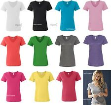 Anvil Ladies Sheer V-Neck Cotton T-Shirt 392 XS-2XL NEW 12 Colors