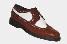 Mens Wingtip Spectator Leather Shoes, Two Tone Oxford Brogues with Thick Soles