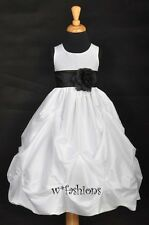 WHITE BLACK SASH WEDDING TAFFETA BRIDAL FLOWER GIRL DRESS 6M 12M 2 4 6 6X 8 9 10