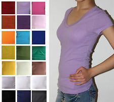 Women/Junior Plain Basic Short Sleeve  V-neck T-Shirts Solid Cotton Top