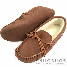 MENS GENUINE SUEDE MOCCASIN SHEEPSKIN SLIPPERS SOFT SOLE LIGHT BROWN SIZES 6-13