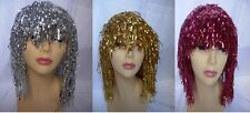 Tinsel Lady's Wig Fancy Dress Hen Night Party Choose Colour In Gold Silver Red