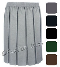 Ladies Skirt Womens Pleated Elasticated Waist Black Grey Navy Navy Formal Office