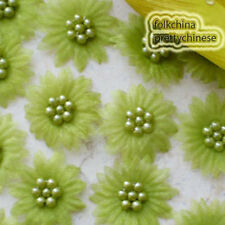 Olive Organza Flower With Cluster Beads Sewing Scrapbooking Appliques Trim JM7B