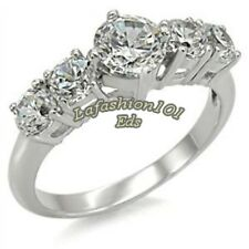 Five Round CZ Stones 316L Stainless Steel Wedding/Engagement Ring SZ 5-10