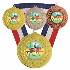 Equestrian - Dressage Medal with R/W/B Ribbon -  Free Engraving - Horse Trophies