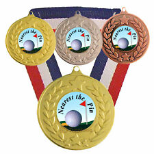 Golf Nearest the Pin Medal & Ribbon, F/Engraving, Nearest the Pin Golf Trophy