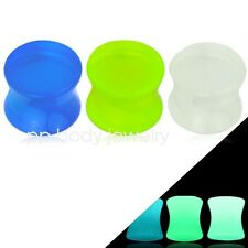 1 PAIR of size 8G to 00G Double Flared Glow in the Dark Acrylic Saddle Plugs