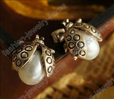 Fashion Lovely Insect Imitative Pearl Retro Style Stud Earring