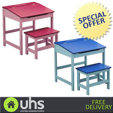 NEW Kids Childrens Home Study Writing Table Storage Desk & Stool Set In 3 Colors