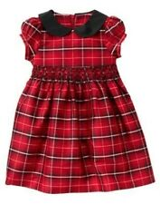 GYMBOREE MERRY OCCASIONS RED PLAID SILK DRESSY DRESS 12 18 NWT