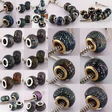 WHOLESALE COLORFUL MURANO FOIL DICHROIC LAMPWORK GLASS CHARM BEADS FIT BRACELET