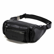 Mens Hip Waist Bum Bag Pack Fanny Business Cowhide Leather Sling Wallets Pouch
