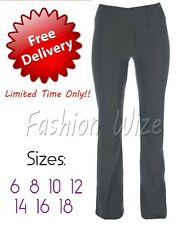 Ladies Girls Black Bootleg Work Trousers Sizes 6-18 Stretch Hipster Selfstripe