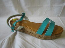 LADIES SPOT ON AQUA WEDGE SANDALS (F10044)