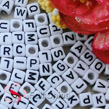 White Square Alphabet Letter Acrylic Plastic 6mm Beads 37C9308