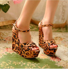 Casual Womens Wedges Platforms High Heels Leopard Print Sandals Shoes 1lx