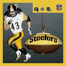 NFL PITTSBURGH STEELERS POLAMALU FIGURE & LOGO FOOTBALL/LOMBARDI TROPHY FAN PULL